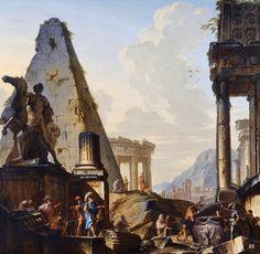 hadrian6: Capriccio of Classical Ruins with Alexander the Great opening the Tomb of Achilles. Giovanni Niccolo Servandoni. Italian 1695-1766. oil/canvas. http://hadrian6.tumblr.com
