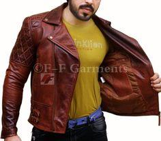 Mens-Biker-Classic-Diamond-Motorcycle-Brown-Distressed-Vintage-Leather-Jacket