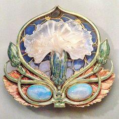 Art Nouveau Gold, Cash Glass, Enamel & Opal Brooch by René Lalique 1901 Lalique Jewelry, Opal Jewelry, Jewelry Art, Vintage Jewelry, Jewelry Design, Gold Jewelry, Jewlery, Quartz Jewelry, Fashion Jewelry