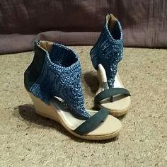 Shoes Unique blue crochet ankle zip up summer shoes never worn. Shoes Espadrilles