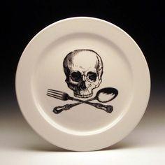 skull and cross utensils 9 inch dinner plate from Etsy shop foldedpigs US$18.00