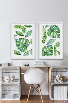 Love!  Marmont Hill Inc. Leaves in Motion Diptych Framed Print Wall Art