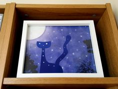 Starpoint Terrace - framed (part of series Tails From Under The Moon Shaped Cheese) - artwork by Rita Dabrowicz Under The Moon, Moon Shapes, How To Make Paper, Terrace, Cheese, Cat, Frame, Artwork, Shop