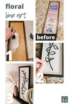 This boho take on floral line art using a thifted wooden sign and craft paint is a great way to make your own wall decor on a budget. Hallway Pictures, Hanging Pictures, Thrift Store Art, Wall Decor Crafts, Gallery Wall Layout, Shape Pictures, Floral Bath, Craft Paint, Black Acrylic Paint
