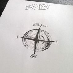 Dotwork compass tattoo for family with initials