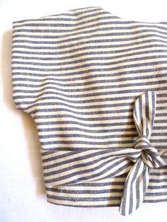 Organic Hemp & Cotton Striped Wrap Top by HarrietsHaberdashery
