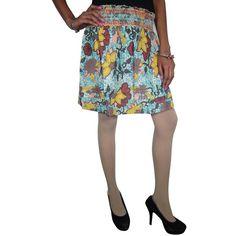 Floral Printed Blue Crinkle Mini Skirt Boho Hippy Gypsy Cotton Skirts (970 INR) via Polyvore featuring skirts, mini skirts, white cotton skirt, blue floral skirt, mini skirt, white floral skirt and white mini skirt
