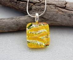 Yellow Pendant With Sterling Silver Necklace - Dichroic Glass Pendant  by DragonGlassUSA. For this and more unique handcrafted jewelry, see our website, www.dragon-glass.com