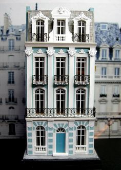 Kilmouski & Me: 144 Scale French Townhouse (jt-beautifully architecturally detailed house made from a Keith Bougourd kit with some additions): Miniature Rooms, Miniature Houses, Putz Houses, Fairy Houses, Modern Dollhouse, Sims House, Small World, Little Houses, Dollhouse Furniture