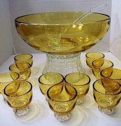 Scalloped Rim and Diamond Cut Pattern Seams. Punch Bowl Set, Bowls, Diamond Cuts, Mugs, Yellow, Vintage, Serving Bowls, Tumblers, Mug