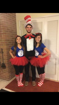 Trio costume! Thing 1 and Thing 2 with Cat. Super easy with DIY tutus and shirt