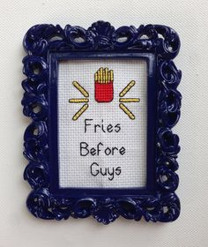 Fries Before Guys Completed Cross Stitch - Small Ornate Navy Filigree Frame on Etsy, $22.00