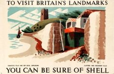 Shell Britain's Landmarks Chanter's Folly And Dry Dock Appledore Devon Ellis 1937 - original vintage poster by Clifford and Rosemary Ellis listed on AntikBar.co.uk