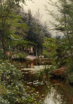 """Peder Mork Monsted """"A Lady Reading by a Lake"""""""