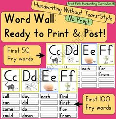 Word Wall: Ready to Print and Post, Handwriting Without Tears style from Print Path on TeachersNotebook.com -  (165 pages)  - 6 Word Walls with headers, picture cues, and Fry words printed under associated letter.  �  Header cards come in both 4x5 or 5x7.  �  50 or 100 Fry words can be printed under your header cards.