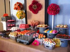 Fun and bright dessert table.  Love the chevron wrapped vases!