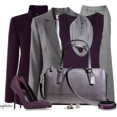 """""""Aubergine Office Attire 2"""" by angkclaxton on Polyvore These shades of purple look beautiful with the gray."""