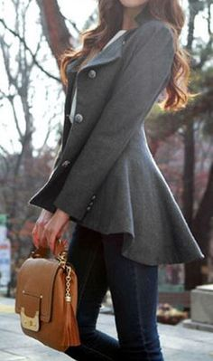 Love this peplum-fringed coat for fall.