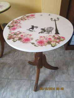 Mesa tecnica aplicada decoupage, transferencia y vidriado Decoupage, Painted Furniture, Napkins, Dining Table, Diy, Painting, Google, Home Decor, Tray Tables
