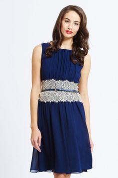 Little Mistress Navy Chiffon Mirrored Lace Dress on shopstyle.co.uk