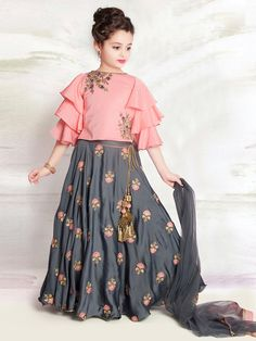 f1c737bcdd Pink and grey designer girls lehenga choli - G3-GCS0321