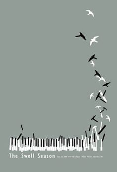 Best Poster Design: 50 Excellent Inspirations Music takes flight. Minimal poster design - but so creative! Colour completely toned right down - just black, white and grey. Design Graphique, Art Graphique, Graphisches Design, Print Design, Path Design, Studio Design, Design Ideas, Poesia Visual, Plakat Design