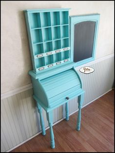 Use an old bread box to make a small roll top desk for a child. Use banisters for legs and a fresh coat of paint and you are all set.
