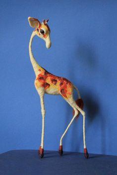 Made to order Giraffe needle felted Soft sculpture, Wool figurine, Felt toy, Handmade OOAK art doll, Felted animal plushie