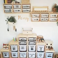 ikea playroom A place for everything . Re-gram via thelifeof_sjh . Kids Playroom Storage, Ikea Playroom, Ikea Toy Storage, Playroom Organization, Playroom Design, Kids Room Design, Ikea Kids Room, Playroom Ideas, Storage For Kids Toys