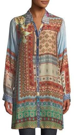 609ff204e8e Johnny Was Paisley Silk Long-Sleeve V-Neck Tunic in 2019