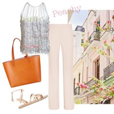 Summery outfit! Hellen van Rees hand woven top. #outfit #summer #shopper #palazzo #peach #howtowear