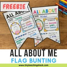 Back to School All About Me Flag Bunting. by Tiny Teaching Shack About Me Activities, Back To School Activities, Free Activities, School Fun, School Stuff, Classroom Bunting, All About Me Printable, Book Report Templates, Music Lesson Plans