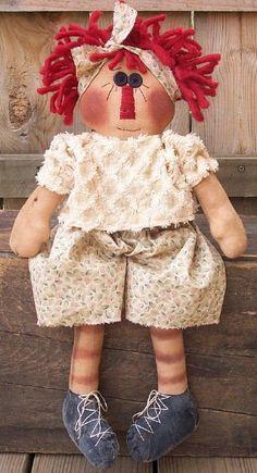 RP143E - Peggy Ann, Raggedy Ann Doll Sewing Pattern by Michelle Allen of Raggedy Pants Designs - PDF Download Primitive Doll Patterns, Doll Sewing Patterns, Doll Clothes Patterns, Amish Dolls, Ann Doll, Raggedy Ann And Andy, Doll Hair, Rag Dolls, Cute Pattern