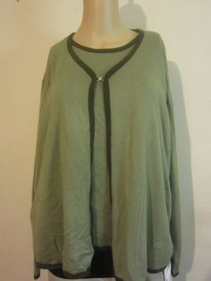 Sag Harbor Sweater Plus Size 2-Piece Cardigan Long Sleeve Size 2X Green #130 #SagHarbor #Cardigan