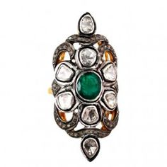925 Sterling Silver Rose Cut Diamond Emerald 14K Gold Victorian Ring Jewelry