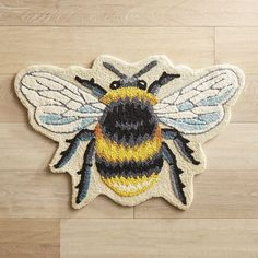 Brighten up your home with our easy-care rug. From your entryway to the kitchen to a bedroom, its imaginative design will create a buzz in any space. Buzzy Bee, I Love Bees, Art Textile, Bee Art, Bee Design, Bee Theme, Save The Bees, Bee Happy, Bees Knees