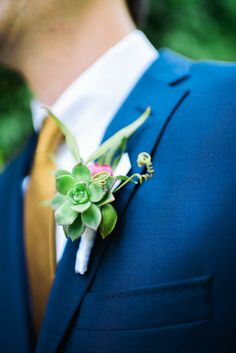 #succulents #boutonniere  Photography by docuvitae.com  Event Planning + Design by bashplease.com/  Floral Design by brownpaperdesign.com/    Read more - http://www.stylemepretty.com/2013/06/24/palm-springs-wedding-from-docuvitae-bash-please/