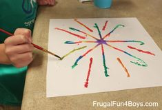 Fireworks Art for Kids with Glue, Salt, and Watercolors