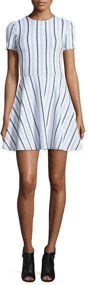 Opening Ceremony Clos Short-Sleeve Striped Circle Dress, White/Multicolor