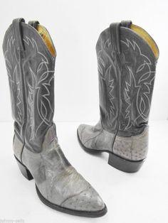 Tony Lama mens cowboy boots size 9.5 E black gray sanded # 8951 ...