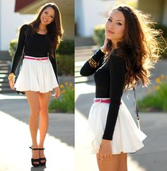 H Black Top, Romwe White Skort, Oasap Pink Suede Belt, Trend Essentails Gold Bracelet, Steve Madden Black Suede Heels