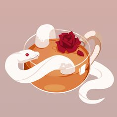 La lune et le soleil — reh-sa: Rose tea ☕️🌹 Cute Animal Drawings, Cute Drawings, Cute Reptiles, Snake Art, Cute Snake, Poses References, Aesthetic Art, Cute Art, Art Inspo