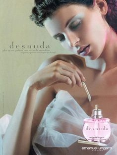 """Desnuda Emanuel Ungaro, introduced in 2001. - Desnuda, or """"Naked"""" in Spanish was quite possibly the first """"nude"""" scent before nudes were popular. It's a warm, powdery cinnamon spiced scent. Sweet, in an edible way like warm, buttery vanilla-caramel sauce. --- Sicilian bergamot, blood orange, white peach, cardamom, pepper, tuberose, freesia, jasmine, iris, Chinese rose, cyclamen, & plum over a luscious base of mimosa, sandalwood, cinnamon, vanilla & osmanthus."""