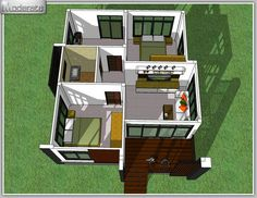 Simple two-bedroom bungalow design - Pinoy House Plans Bungalow Haus Design, Modern Bungalow House, Bungalow House Plans, Two Bedroom Tiny House, Bedroom House Plans, Single Storey House Plans, Small Modern House Plans, Modern Tropical House, Village House Design