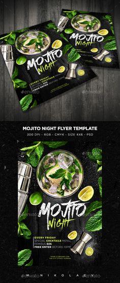 Mojito Night Flyer V3 — Photoshop PSD #mojito #nightclub • Available here → https://graphicriver.net/item/mojito-night-flyer-v3/14908076?ref=pxcr