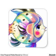 Cute Tropical Fishie Kawaii Square Sticker