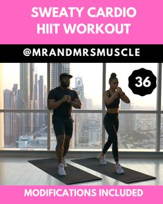 Sweaty Cardio Workout - Home or Gym - Hiit exercise to burn fat. Add this cardio exercise to your HIIT workout routine to burn fat and lose weight. Hiit Workout Routine, Full Body Hiit Workout, Gym Workout Videos, Fitness Workout For Women, Fitness Routines, Body Fitness, Workout Challenge, Gym Workouts, Fitness Motivation