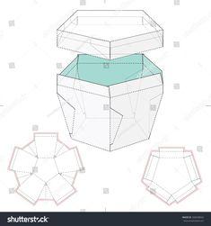 Pentagonal Box With Lid And Die Cut Template Stock Vector Illustration 268268024 : Shutterstock Packaging Dielines, Box Packaging, Packaging Design, Diy Gift Box, Diy Box, Diy Gifts, Diy Paper, Paper Art, Paper Crafts