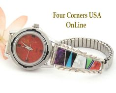 Women's Multi Color Inlay Sterling Watch Four Corners USA Online - Native American Jewelry  (http://stores.fourcornersusaonline.com/11w-womens-natural-apple-coral-stainless-watch-face-nawf-ac-11w/)
