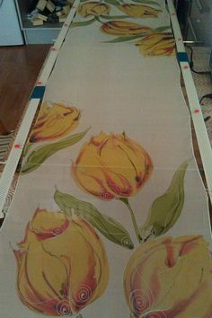 yellow tulips watercolours hand painted on silk by herondesignstudio.com